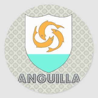 Anguilla Coat of Arms Round Sticker