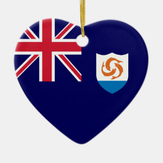 Anguilla Flag Heart Ceramic Heart Decoration