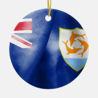 Anguilla Flag Round Ceramic Prnament Christmas Ornament