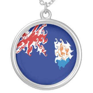 Anguilla Gnarly Flag Round Pendant Necklace