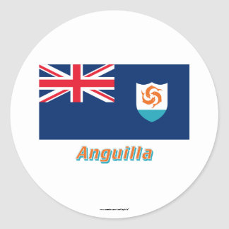 Anguilla Official Flag with Name Classic Round Sticker