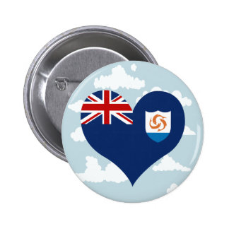 Anguillan Flag on a cloudy background 2 Inch Round Button