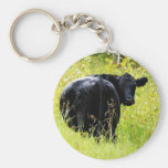Angus Steer in Tall Yellow Grass Basic Round Button Key Ring