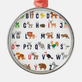 Animal ABCs - Alphabet Silver-Colored Round Decoration