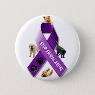 Animal Abuse Awareness Ribbon 6 Cm Round Badge