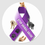 Animal Abuse Awareness Ribbon Round Stickers