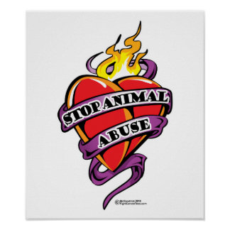 Animal Abuse Tattoo Heart Poster