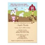 Animal Acres Farm Animal Baby Shower NEUTRAL AAK 13 Cm X 18 Cm Invitation Card