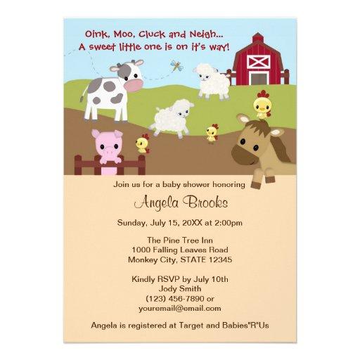 Animal Acres Farm Animal Baby Shower NEUTRAL AAK Custom Announcements