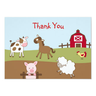 Animal Acres Farm Animal Flat Thank You Note Cards 13 Cm X 18 Cm Invitation Card