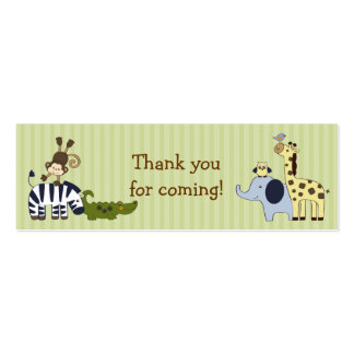 Animal Adventure Jungle Animal Favour Gift Tags Pack Of Skinny Business Cards