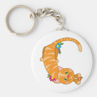 Animal Alphabet Cat Basic Round Button Key Ring