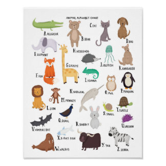 Animal Alphabet Chart A-Z art print