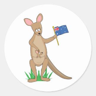Animal Alphabet Kangaroo Classic Round Sticker