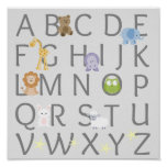 Animal Alphabet Nursery Poster