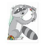 Animal Alphabet Racoon Postcard