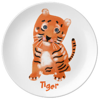 Animal Alphabet. Tiger. Plate