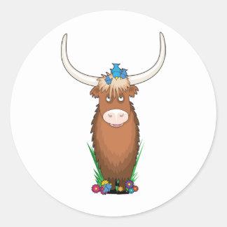 Animal Alphabet Yak Classic Round Sticker