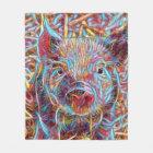 Animal ArtStudio- funky piglet Fleece Blanket