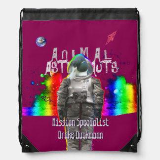 Animal Astronaut Duck in Rainbow Galaxy Backpack