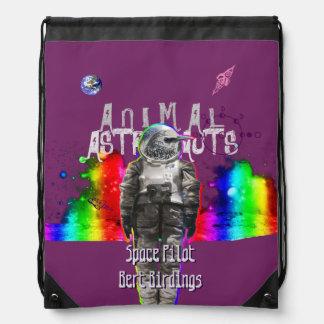 Animal Astronaut in Rainbow Galaxy Bird Drawstring Backpack