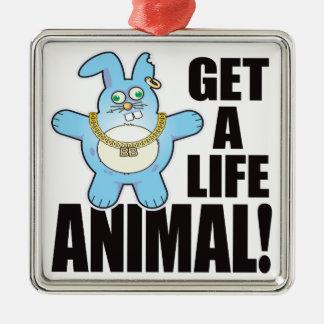 Animal Bad Bun Life Silver-Colored Square Decoration