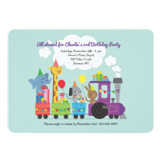 Animal Birthday Train Invitation