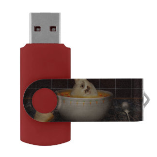 Animal - Bunny - There's a hare in my soup Swivel USB 2.0 Flash Drive