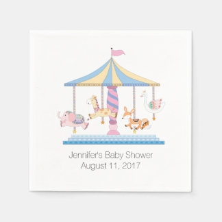 Animal Carousel Baby Shower Paper Napkins