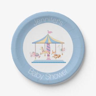 Animal Carousel Baby Shower Plate