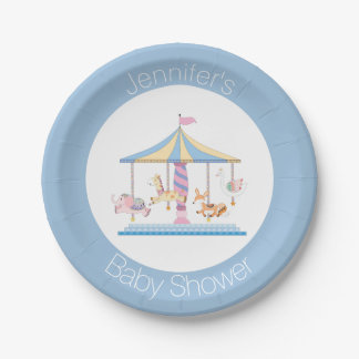 Animal Carousel Baby Shower Plate 7 Inch Paper Plate