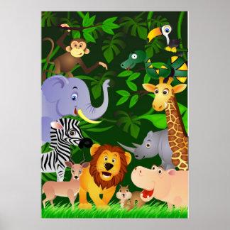 Animal cartoon poster