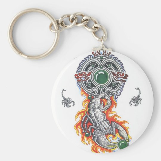 animal celtic scorpion tattoo basic round button key ring