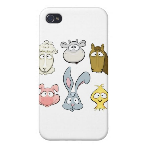 Animal characters. Farm animals design iPhone 4 Cases