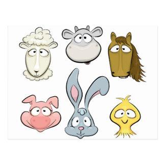 Animal characters. Farm animals design Postcard