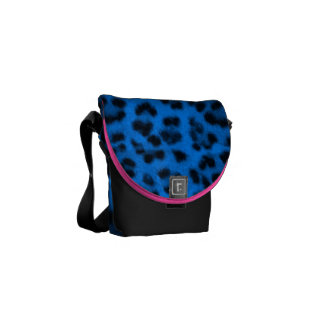 Animal Cheetah leopard spots cat blue fur print ph Messenger Bag