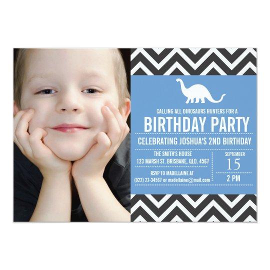 Animal Chevron Photo Birthday Invitation
