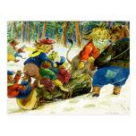 Animal Christmas - Getting the Yule Log Postcard