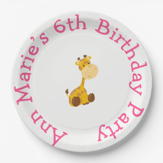 Animal Circus Train Kids Birthday in Pink 9 Inch Paper Plate