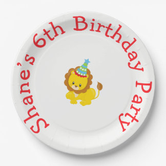 Animal Circus Train Kids Birthday in Red 9 Inch Paper Plate