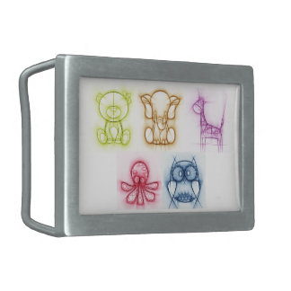 Animal Colors Rectangular Belt Buckles