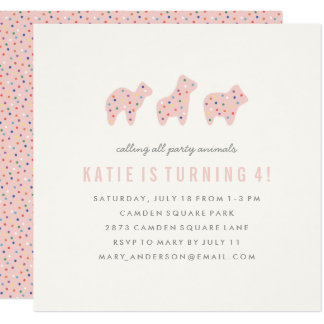 Animal Cookie Birthday Invitation - Bubblegum