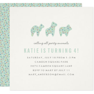 Animal Cookie Birthday Invitation - Mint