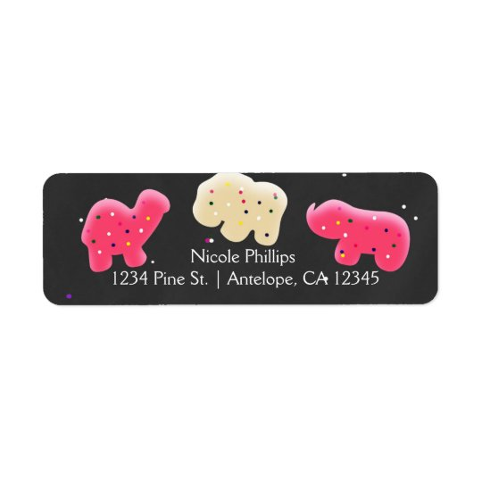 Animal Cookies Sprinkle Party Address Labels
