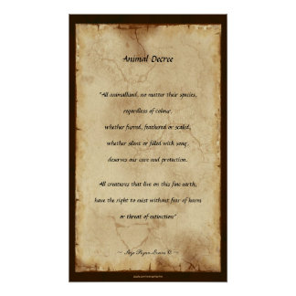 """""""Animal Decree"""" Parchment-style Poetry Poster"""