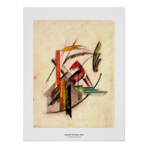 Animal drawing by Franz Marc Expressionist painter Print