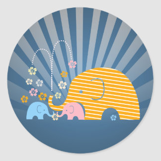 Animal elephant mama and baby with flower classic round sticker