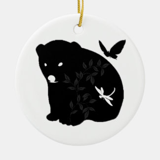 animal family Double-Sided ceramic round christmas ornament