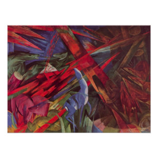 Animal Fates by Franz Marc, Vintage Cubism Art Poster