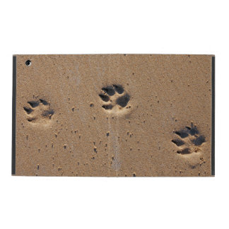 Animal footprints in the sand iPad case